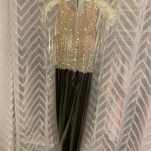 Mesh Material W/ Rhinestones & Black Prom Dress